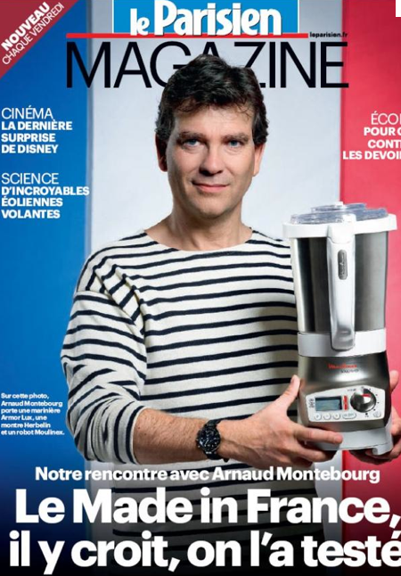 Arnaud Montebourg, Minister for Industrial renewal, posing on the cover of Le Parisien.