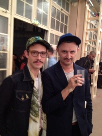 Hipsters attending the opening of the Jim Shaw exhibit in Paris who look a lot like hipsters from NYC, ten years ago.