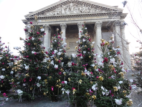Christmas trees in from of the Pantheon, famous secular temple in Paris's Latin Quarter.