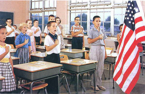 "The pledge of allegiance to the flag that is recited in American schools: ""One nation, under God."""