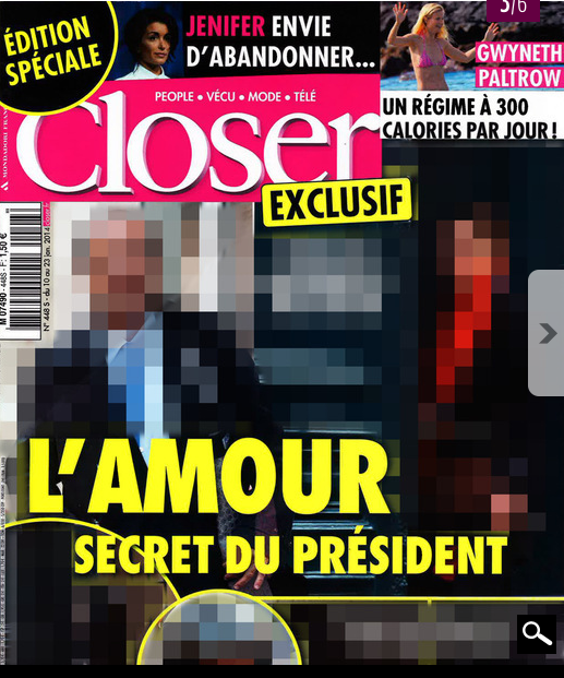 "The cover of the special edition of the tabloid magazine Closer headlining on ""The President's Secret Love Story."""