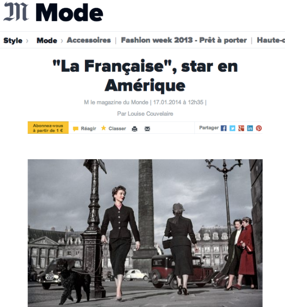 """The French Woman: a Star in America."" Story in last week's Le Monde magazine."